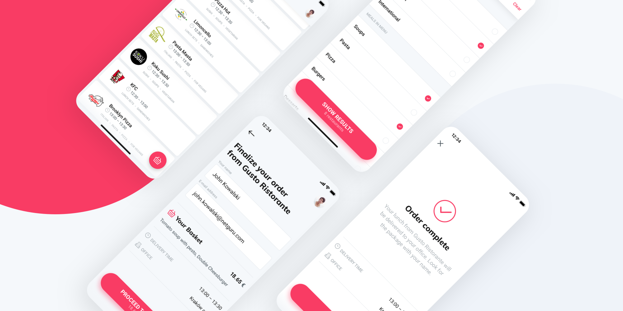 Lunching – a food delivery app developed for iOS and Android