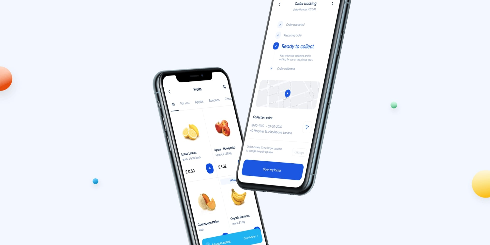 Click and collect mobile mockups