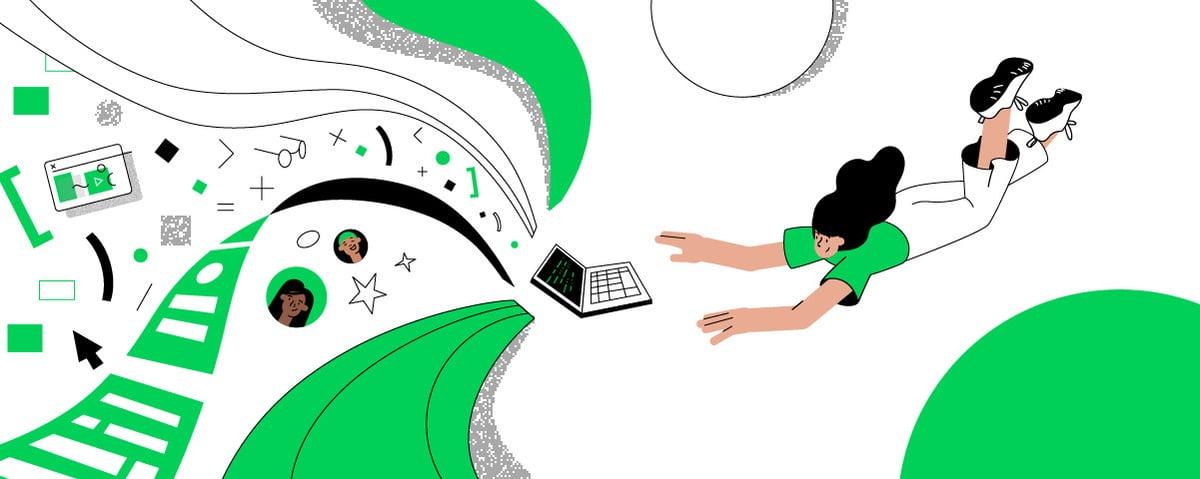 Codestories newsletter header with a girl