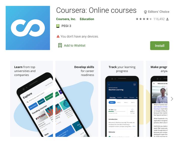 Apps Written in Kotlin: Coursea