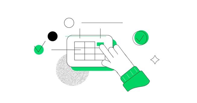 a hand clickin on a keyboard illustration