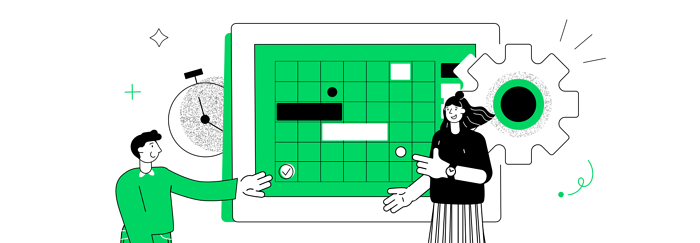 people looking at a calendar illustration