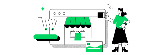 User in an online store illustration