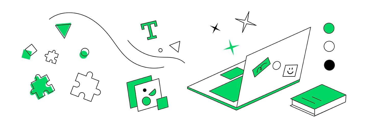 illustration: laptop, books, puzzles