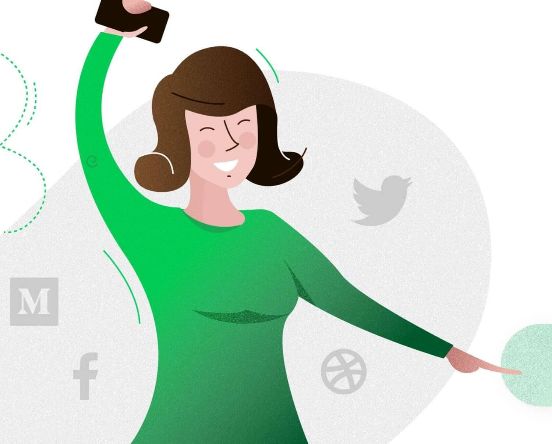 Custom mobile app user illustration