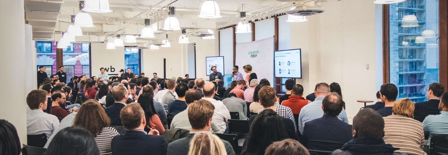 The audience of Disruption Forum Fintech event at Work-Bench NYC