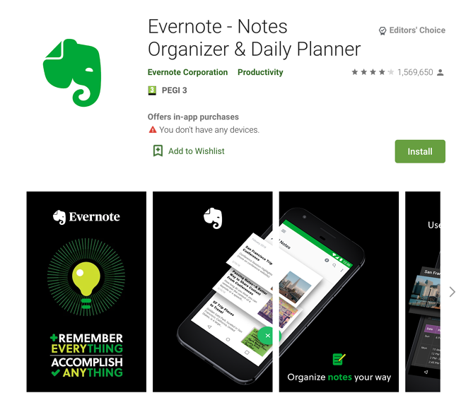Apps Written in Kotlin: Evernote