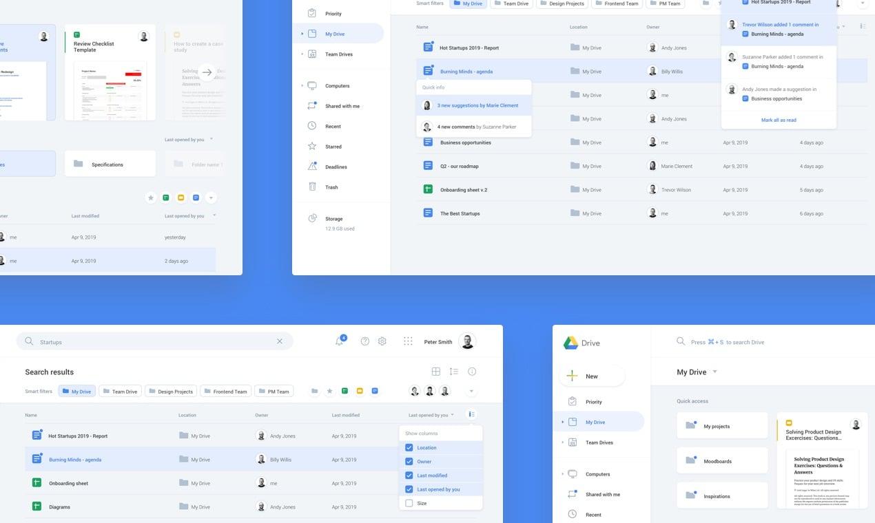 Google Drive redesign screens