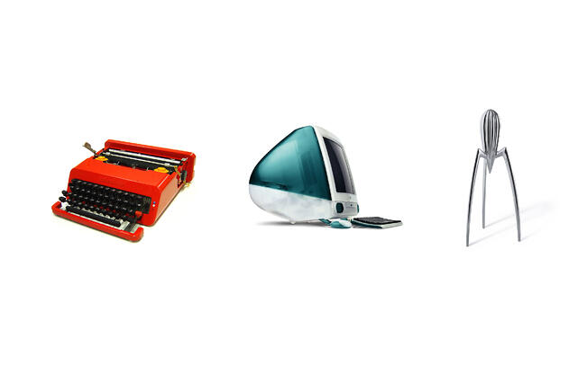 olivetti's typewriter, iMac G3, Alessi lemon squeezer