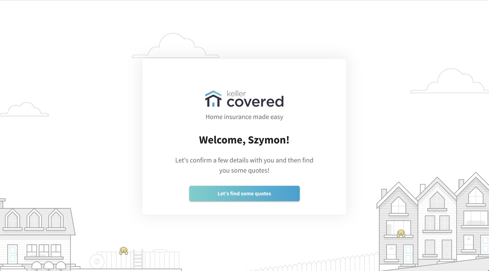 Keller Covered – Welcome page, design 2
