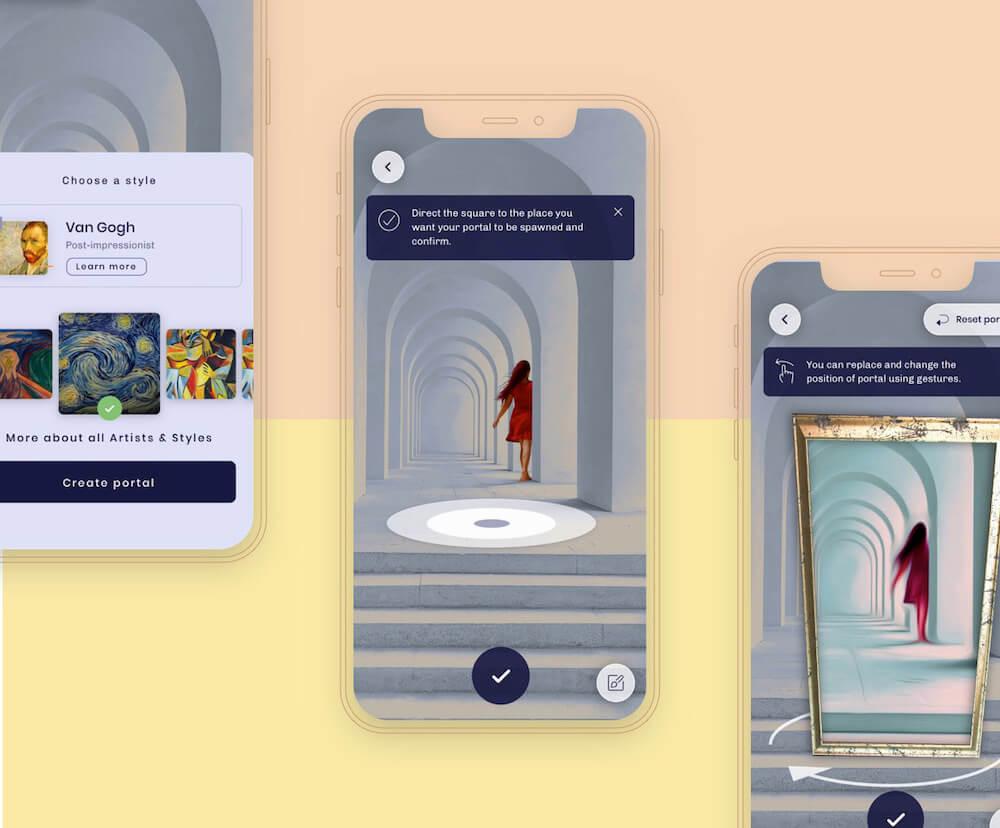 Kunster AR mobile app mockups