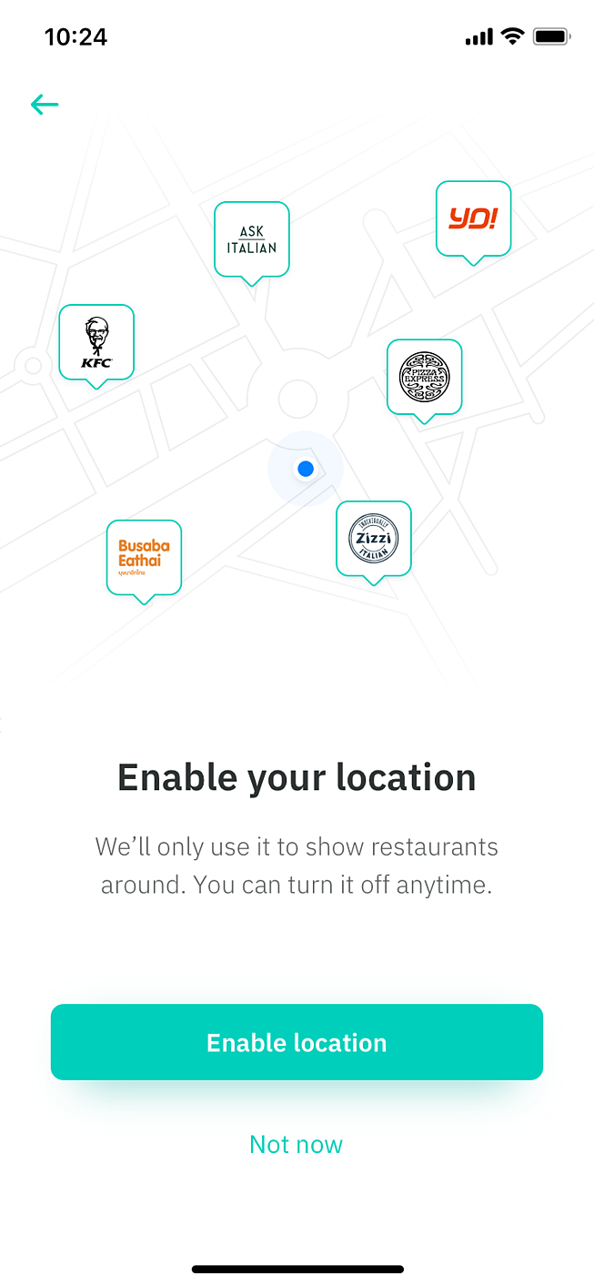 Location feature in Deliveroo app suggested fix