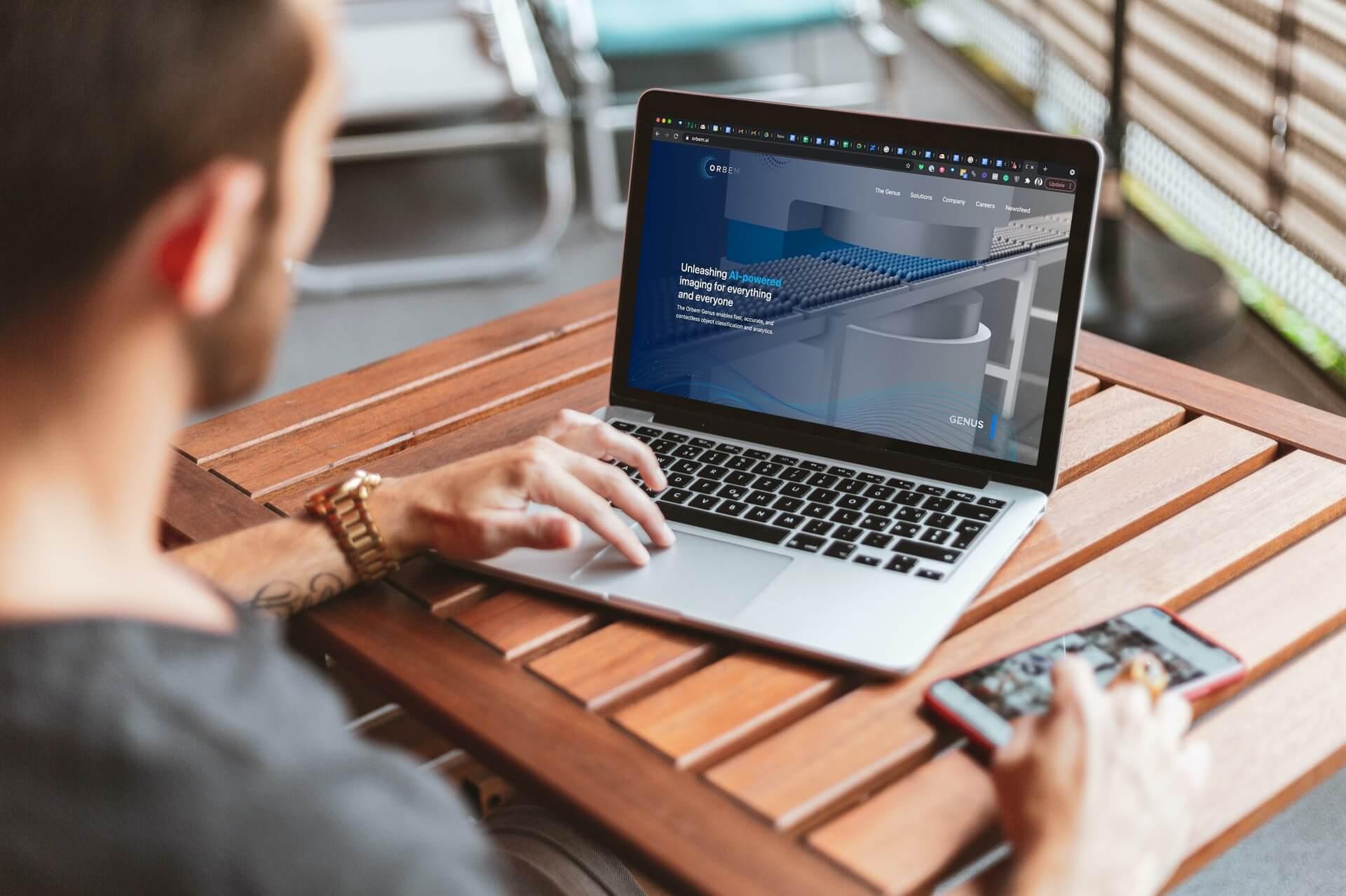 Orbem website on a laptop