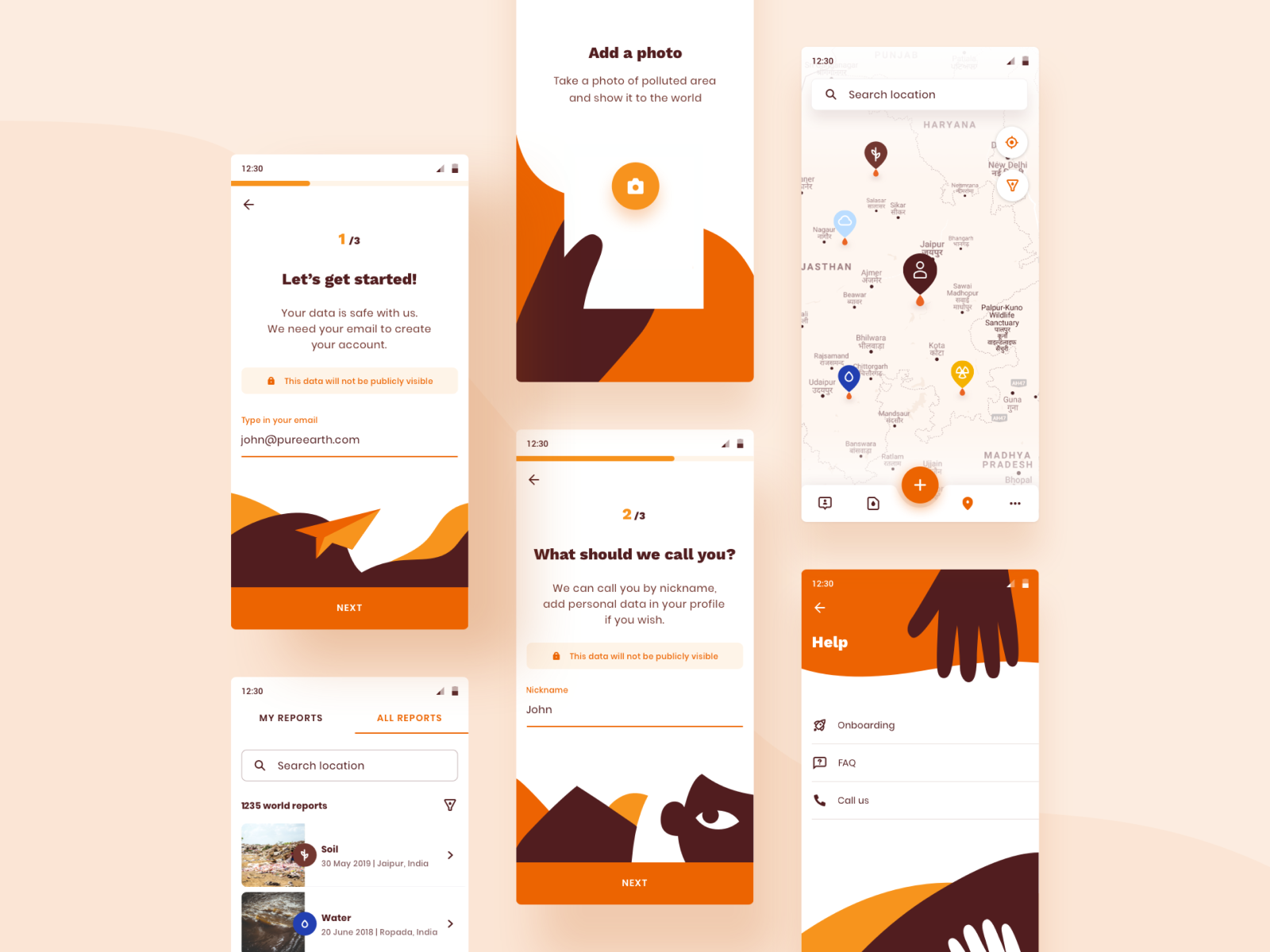 Report pollution app interface
