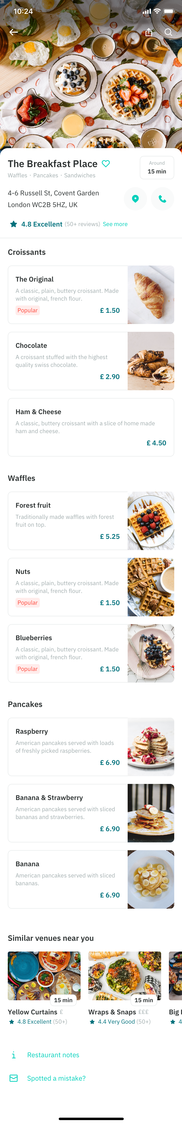 Individual restaruant menu selection page feature in Deliveroo app fourth issue