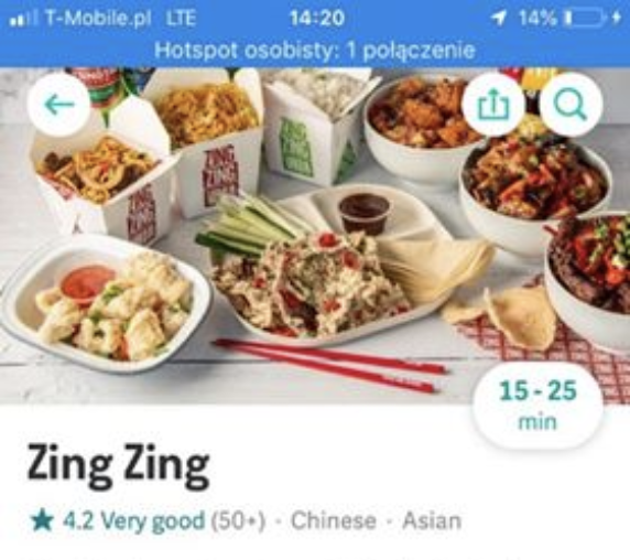 Individual restaruant menu selection page feature in Deliveroo app