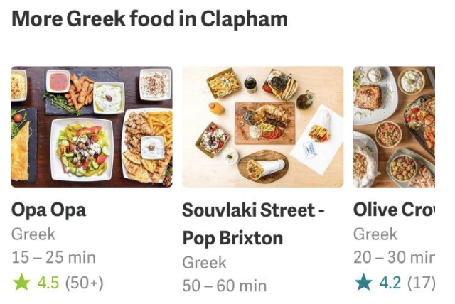 Individual restaruant menu selection page feature in Deliveroo app sixth issue