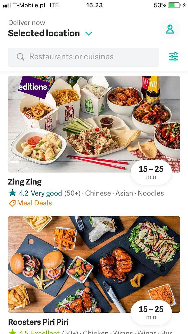 Search feature in Deliveroo app