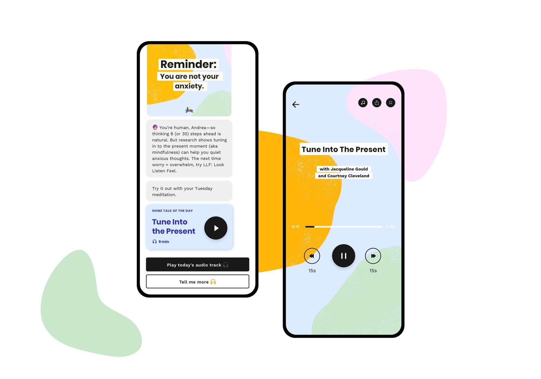 Shine app interface