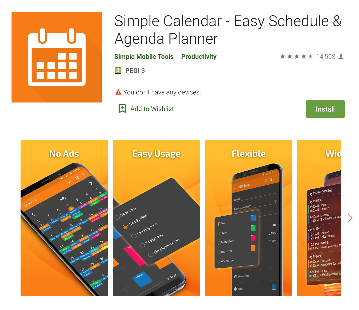 Apps Written in Kotlin: Simple Calendar