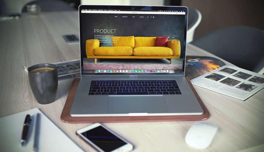 Online shop displayed on macbook