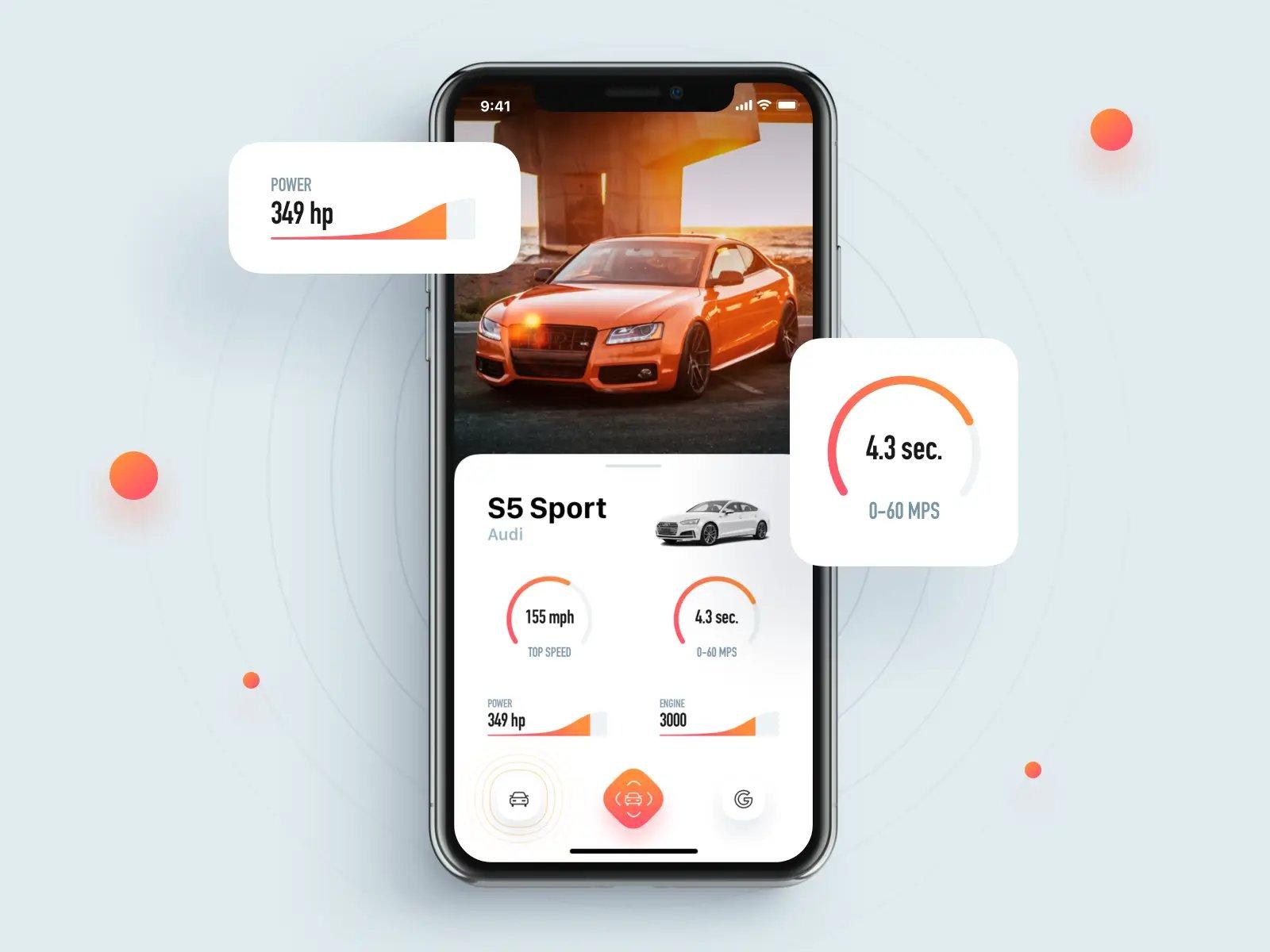 CarLens mobile AR app mockup