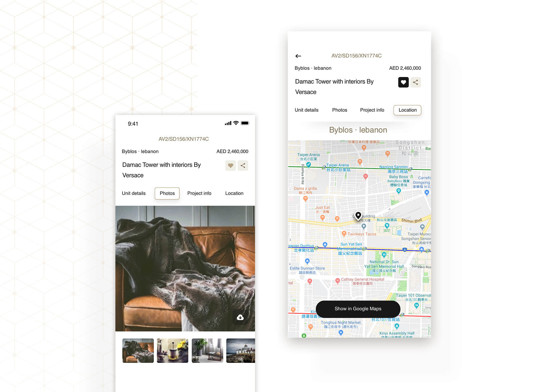 DAMAC app screens