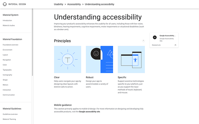 Accessibility Design Guidelines accordingly to Material Design System