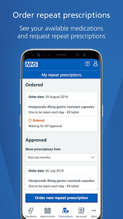 ordering prescriptions via NHS app