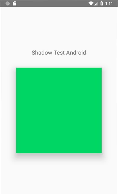 Shadow test on Android: adding elevation: 20