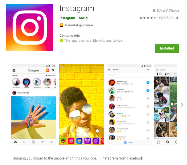 instagram example on aso in google play store