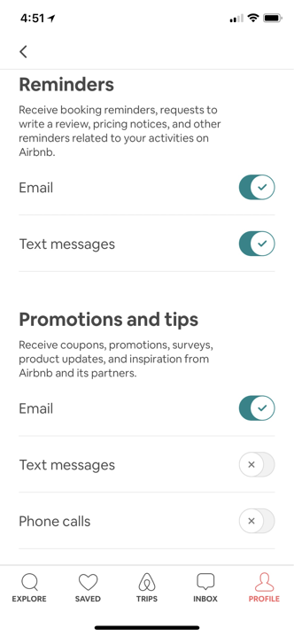 airbnb notifications