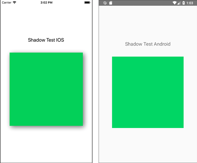 Shadow test: Differences on Android and iOS