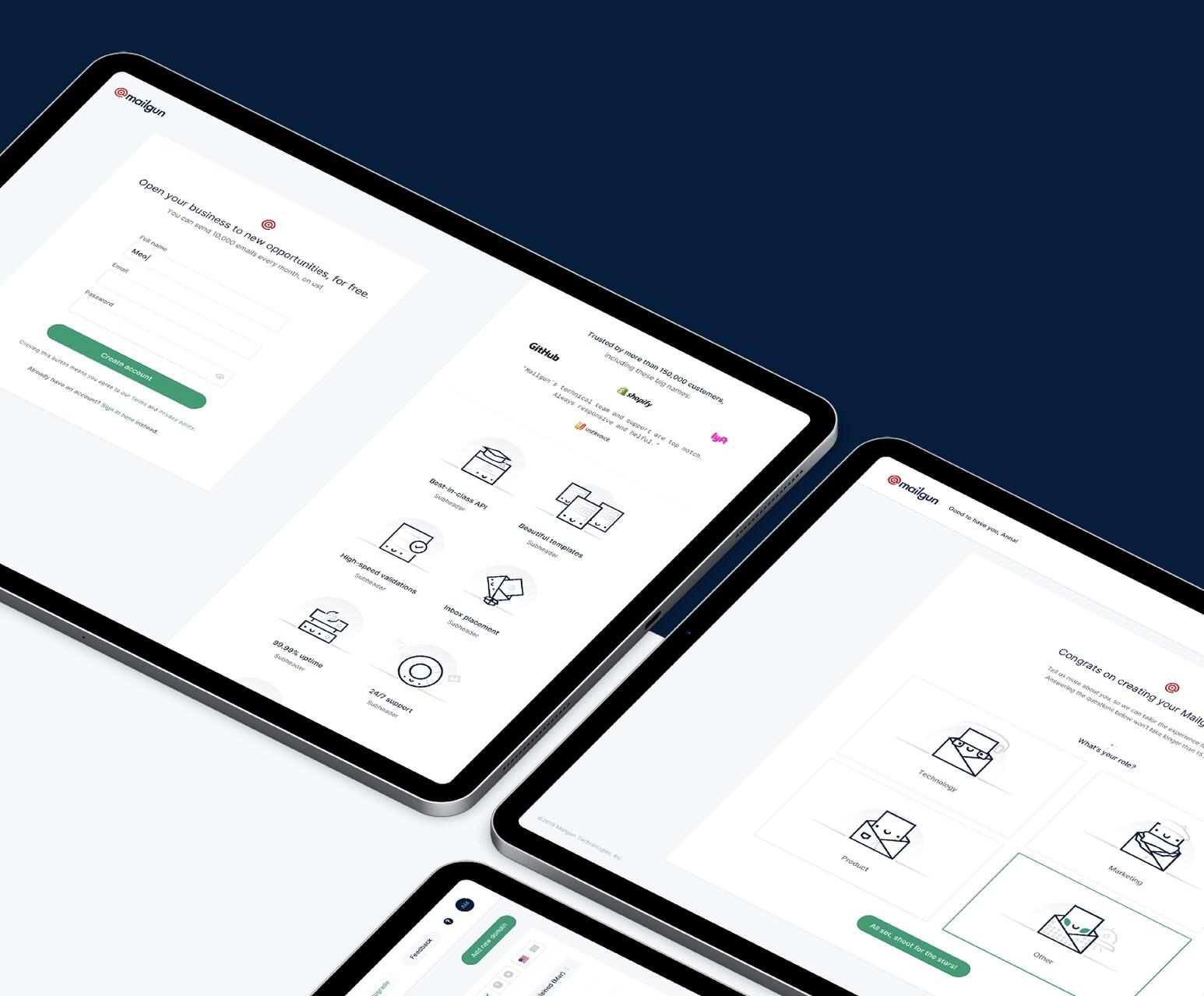 tablets displaying mailgun dashboard