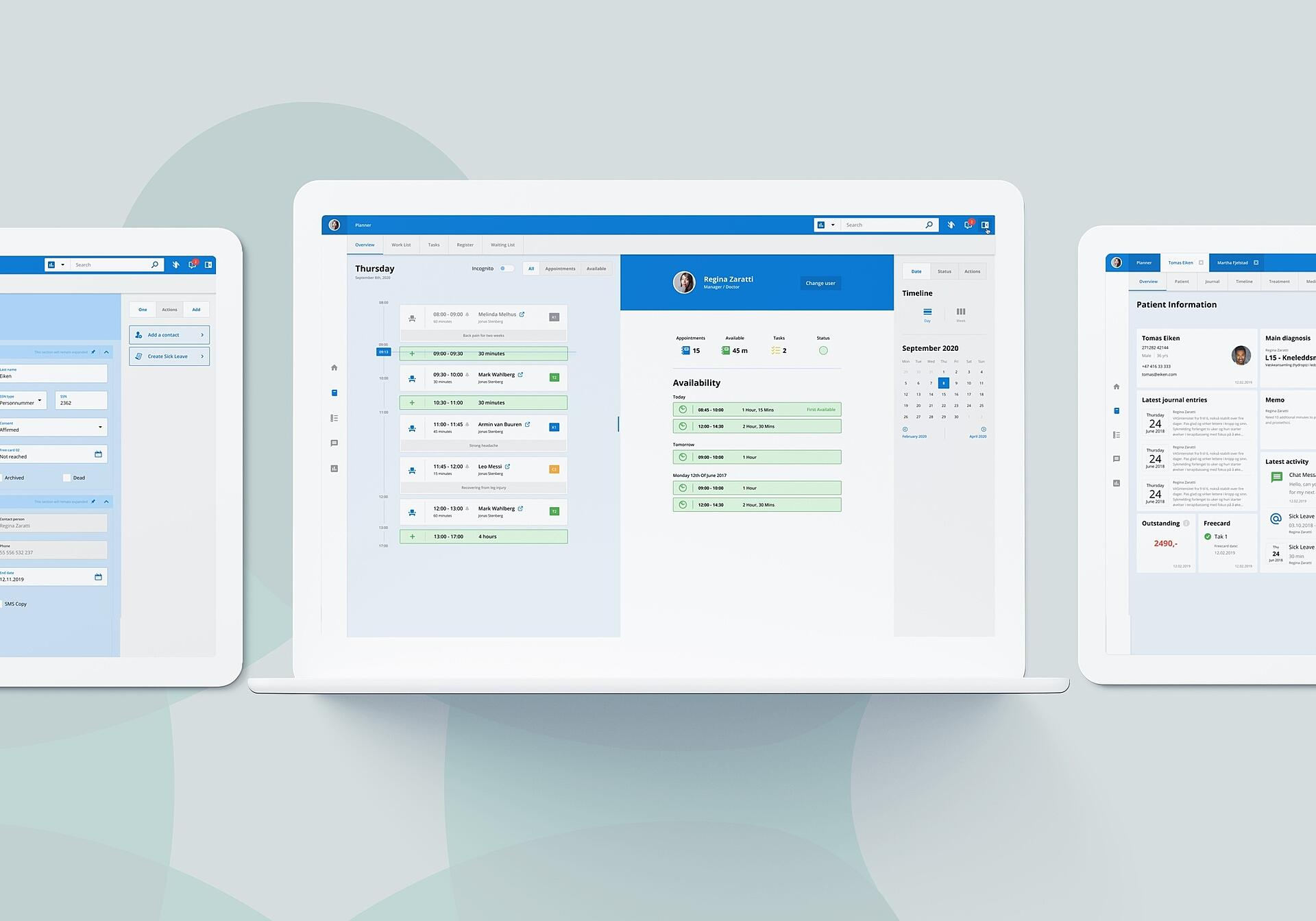 Patient management software: calendar