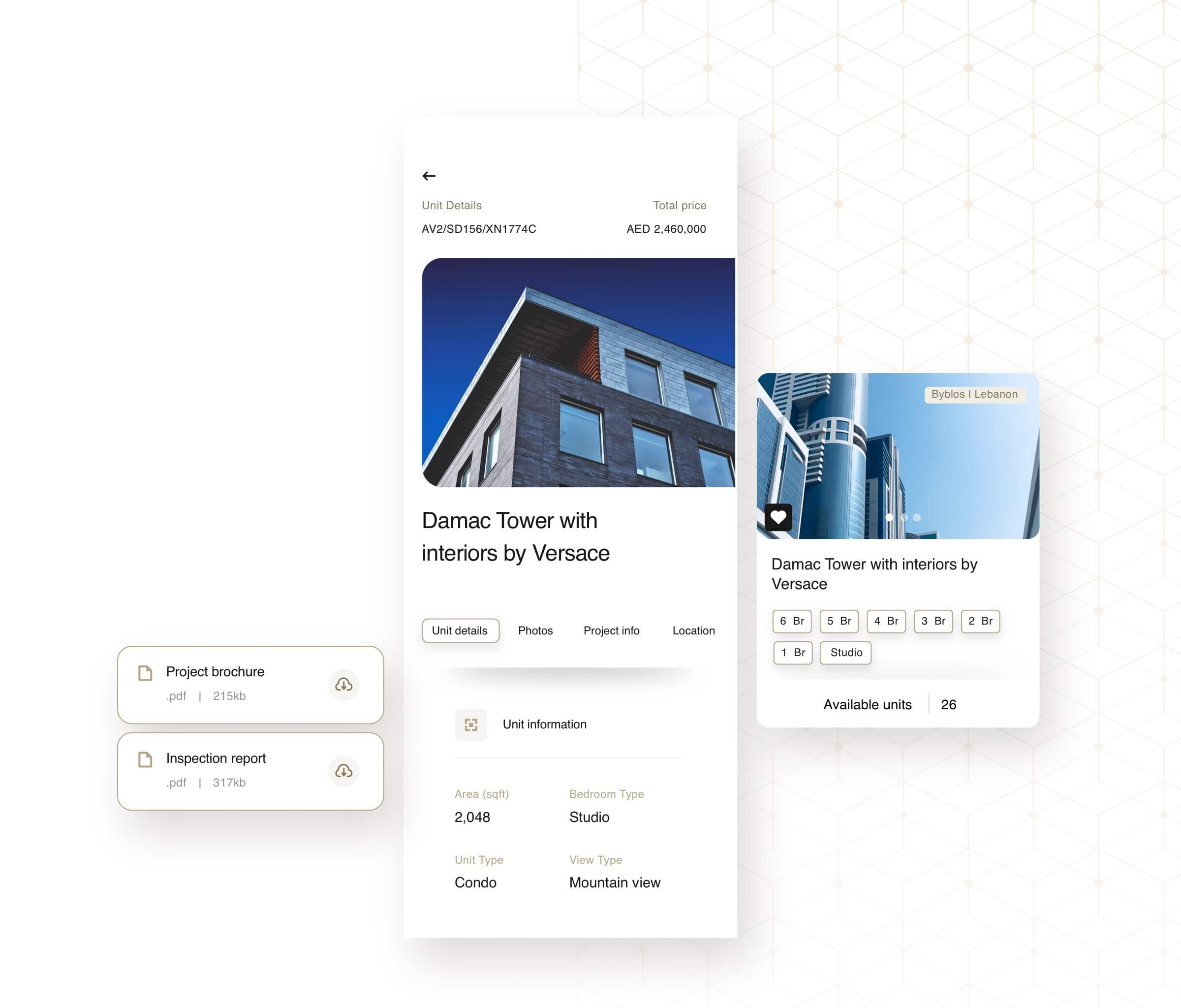 DAMAC app interfaces